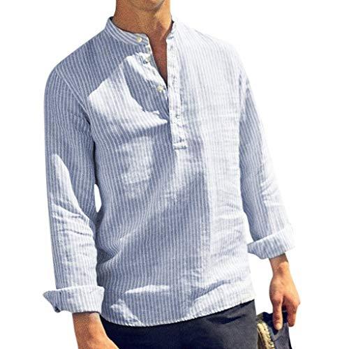 Fannyfuny Polo Shirt Bluse Hemd Herren Poloshirt Langarm-Hemd für Männer Gestreift Patchwork Tops Blouses Sommertop für Sport Freizeit und Arbeit Casual Slim-Fit Langarm-Hemden mit Knopf Cotton Linen -