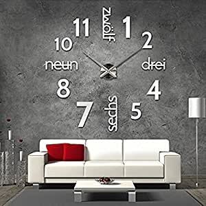 xxl 3d silberne riesen designer wanduhr wohnzimmer dekoration wandtatoo mit deutschem. Black Bedroom Furniture Sets. Home Design Ideas