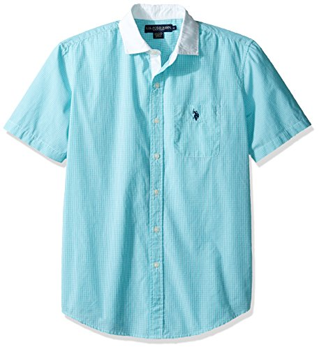 U.S. Polo Assn. Herren Classic Fit Single Pocket Stripe, Plaid or Print Sport Shirt Button Down Hemd - Blau - (Shirt Classic Fit Plaid)