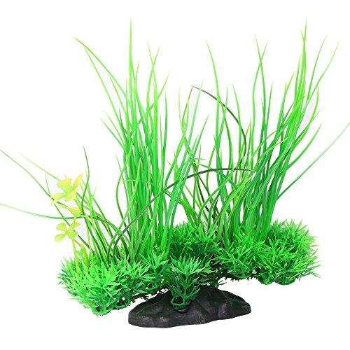Digiflex Erba verde lunga e fogliame corto artificiali, decorazione paesaggistica per acquario.