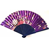 AUM- Colorful, Floral Pattern, Hand Held Folding Bamboo Japanese Silk Hand Fan (Purple-Blue).100% Hand Crafted, Gift Fan For Girls, Women, Wedding Party. Buy 100% Original Imported Hand Fan From Aum Impex Only