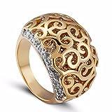 T-CMKJ Ring Voll-gebohrter Zirconweiblicher Ring-Stein Doppel-Farbklauensatz Ring, 9 Yards, Gold