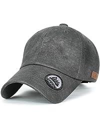 ililily leicht künstliches Leder klassischer Stil Trucker Cap Hut Kettverschnuss Schlaufe Baseball Cap