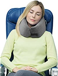 Travelrest - Coussin de voyage en mousse à mémoire de forme - ergonomique, innovateur - le MEILLEUR coussin de voyage pour l'avion, la voiture, le bus, le train, le camping, la sieste au bureau, les personnes en fauteuil roulant ou pour la maison - GRIS