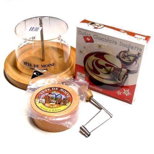 Set completo affettatrice, formaggio Tete de Moine e Choco Roulette pistacchio