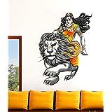 Rawpockets 'Durga with Lion ' Wall Sticker (PVC Vinyl, 60 cm x 95cm)