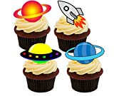 Outer Space–Spacecraft and Planets Edible Cupcake Toppers–stand-up Wafer Cake Decorations by Made4You