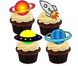 Made4You Decoración Comestible para Cupcakes con diseño de Hendidura Espacial, Cohete y Planetas, 12 Unidades
