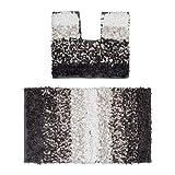 Relaxdays Badgarnitur 2teilig im Paper Shaggy-Design, Für Fußbodenheizung, Waschbar, Badematte und WC-Vorleger, Für Stand-WC, 80 x 50 cm, braun / beige