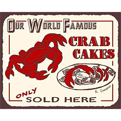 Crab Cakes Vintage Metal Art Beach Seafood latta metallo Tin Sign 7x 10segni in metallo vintage
