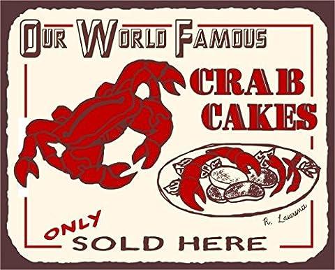 Crab Cakes Vintage Metal Art Beach Seafood Retro Tin Sign Metal Tin Sign 7X10 Metal Signs Vintage
