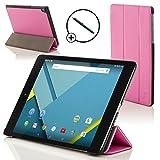 Forefront Cases® Google Nexus 9 8.9 Zoll Hülle Schutzhülle Tasche Bumper Folio Smart Case Cover Stand - R&um-Geräteschutz & intelligente Auto Schlaf/Wach Funktion inkl. Eingabestift (ROSA)