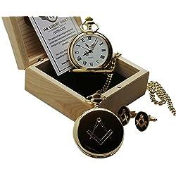 Gold Freemason Pocket Watch and Cufflinks No G Freemasonary Luxury Masonic Gift Set in Case Full Hunter with Wooden Box