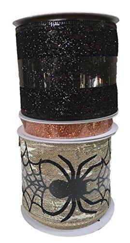 Spider Web mit kriechen Spinnen orange Sparkle und schwarz Glitzer Bundle Von Drei Halloween themed Bänder