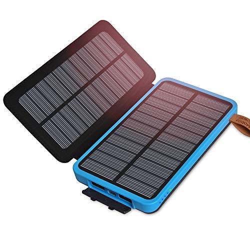 ADDTOP Solar Ladegerät 10000mAh Wasserdicht Power Bank mit 2 Solarzelle Externe Akku Batterien für iPhone, iPad, Samsung, Android und Andere Smartphones