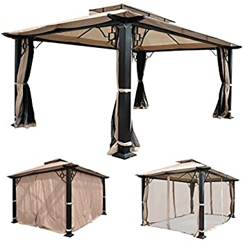 mendler pergola cadiz pavillon stabiles 7cm gestell 5x3m creme mit seitenwand. Black Bedroom Furniture Sets. Home Design Ideas