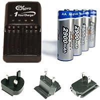 Ex-Pro Lot de piles AA rechargeables avec chargeur et adaptateurs prises 2900mAh
