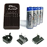 Ex-Pro 2900mAh Rechargeable AA Batteries and Charger Kit for Digital Camera