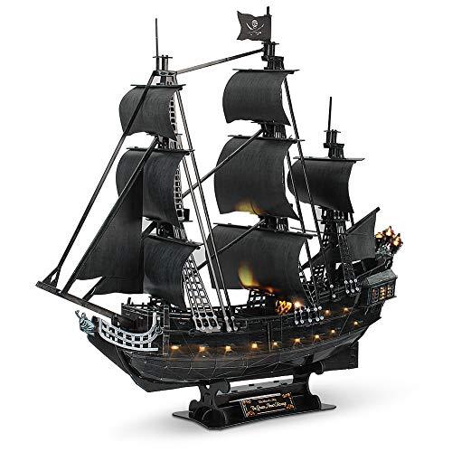 CubicFun Puzzle 3D Queen Anne's Revenge Modello di Nave Pirata (con LED) , Grande 340 Pezzi