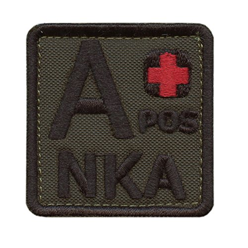 Olive Drab A POS A+ NKA Blutgruppen OD Green Embroidered Velcro Aufnäher Patch