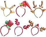 6 Stück Weihnachtsdekoration Rentier Geweih Stirnband für Erwachsene und Kinder ab Oktober Elf (Pack of 6, J)