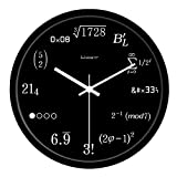 YWJWJ Legierung Präzise Wanduhr-Moderne Wohnzimmerqualität Kreative Mathematik und Uhren Vogue Circular Ultra-Leise Home-1 X AA-Batterie (Nicht enthalten),10Inches-Splitter-Umrandung,Schwarz