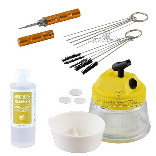Agora-Tec® AT- Airbrush-CLEAN-Reinigungs Zubehör-Set bestehend aus Cleaning Pot, 5...