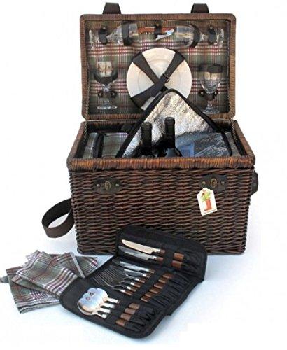 Picknickkorb–für 4Personen Boonies. Korb-Picknick, Picknick-Füllhorn, Geschenk Original, Picknickkorb für vier Personen. Geschenk für Liebhaber der Natur. Geschenk für damen Geschenk für. Herren. Picknickkorb für IR Camping-Picknick-Korb