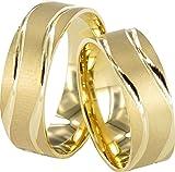 2x Eheringe Verlobungsringe Gelbgold Trauringe Freundschaftsringe 333 Gold *PAARPREIS* J105