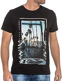 Deeluxe 74 - Tee-shirt noir imprimé palmier