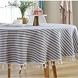 Meiosuns Runde Tischdecke Gestreifte Tischdecken Fringe Tischläufer Einfache und Elegante Heimtextilien für den Innen- und Außenbereich (Durchmesser 150 cm, Blaue/weiße Streifen) - 4