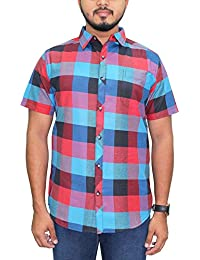 Kuons Avenue Black, Maroon & Turquoise Checks Half Sleeve Casual Party Shirt