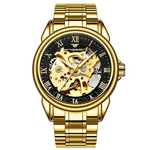 Amstt Herren Men Gold Automatic Mechanical Stainless Steel Schwarz Golden Armbanduhr Herren Bulova Gold Diamant Uhr