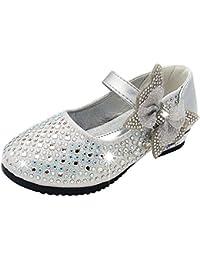 SITAILE Bambina Eleganti Principessa Scarpe di Cristallo per Ragazze Festa di Compleanno Scarpe Basse Sandali Bowknot Ultimo Design