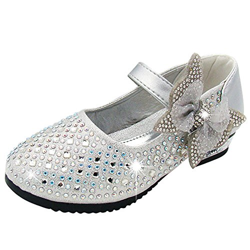 Sitaile bambina eleganti principessa scarpe di cristallo per ragazze festa di compleanno scarpe basse sandali bowknot ultimo design argento 35