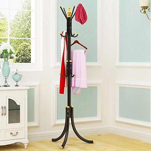 SKC Lighting-Porte-manteau Fer Bold Coat Rack Chambre Cintre Floor Clothes Rack Ménage Vêtements Rack De Stockage Noir, Orange, Blanc, Bourgogne (52 * 52 * 175CM) (Couleur : Noir)