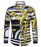 Versaces Männer Hemd Freizeit Palast Wind Digital Gestreifter Druck Lange Ärmel Hemd, Black Yellow, M