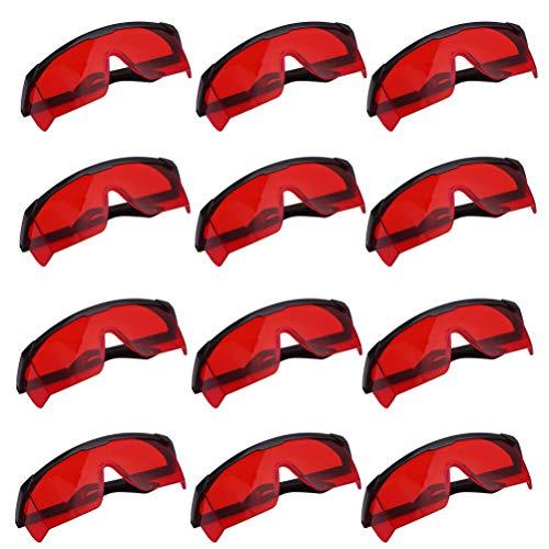 Schutzbrille Großpackung - 12-teilige getönte Schutzbrille mit roter Anti-Kratzer-Linse für Paintball, Nerf n Strike, Konstruktion und mehr mit sportlichem Augenrahmen