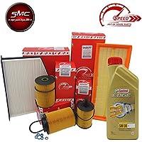 Kit Tagliando con 4filtros originales Speed by SMC + 5litros aceite motor Castrol Edge 5W30(so224o so412, sa2276, srn491, se1564)