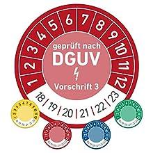 geprüft nach DGUV Prüftermin Wartungsplakette Prüfplakette Wartung 20mm Ø rot (500 Stück)