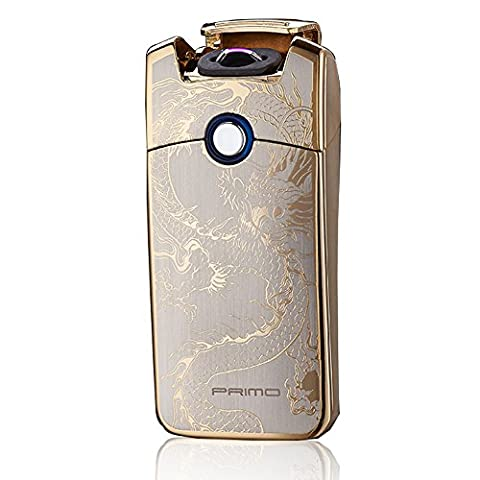 Primo Coil lighters USB Rechargeable Windproof Electronic Arc LighterGolden Dragon)