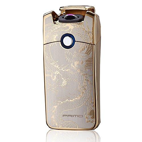 Preisvergleich Produktbild Primo USB Wiederaufladbares Windbeständiges Zigarette Tesla Arc Feuerzeug(Golden Dragon)