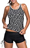 TDOLAH Damen Mesh Bikini-Set Push up Tankini mit Hotpants verstellbare Bände Boyshorts Badeshorts (L (EU 38-40), Linien 2)