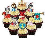 Märchen Party Pack–Ritter, Prinzessinnen, Drachen und Burgen, Kids 'essbaren Kuchen Dekorationen–Stand-Up Wafer Cupcake Topper, Pack of 36