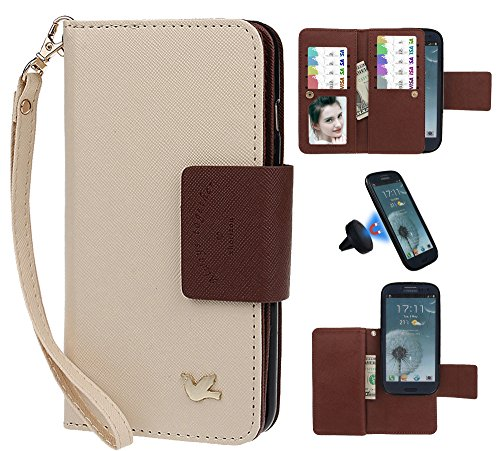 Hülle für Samsung S3, xhorizon FX Prämie Leder Folio Case [Brieftasche][Magnetisch abnehmbar] Uhrarmband Geldbeutel Flip Vogel Tasche Hülle für Samsung Galaxy S3 i9300 mit einer Auto Einfassungs Halte Beige mit Schwarz Auto Einfassung Halter