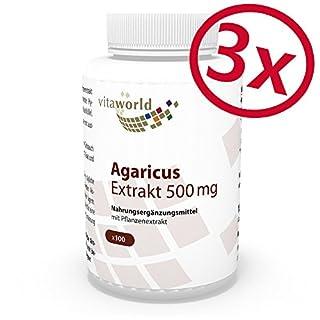 3er Pack Vita World Agaricus Extrakt 500mg 300 Kapseln Apotheker-Herstellung ABM Agaricus Blazei Murill Mandelpilz 20% Polysaccharide