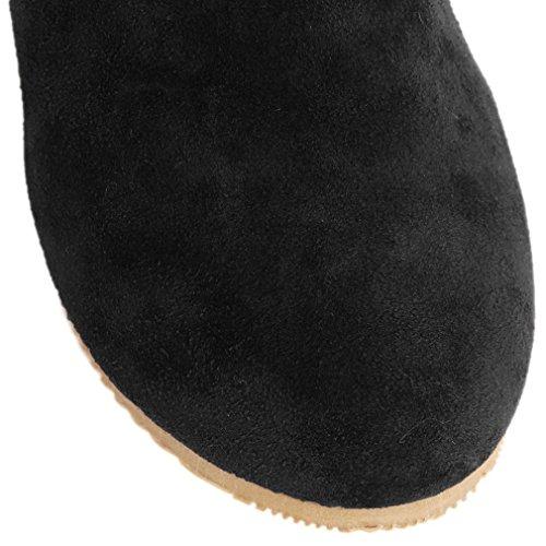 Minetom Donna Autunno Inverno Elegante Casuale Piatta Scarpe Stivali Slouchy Stivali Da Neve Lunghi Stivali Nero