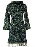 Guru-Shop Minikleid Boho Chic, SchalkragenTunika, Damen, Schwarz/Petrol, Synthetisch, Size:M (38), Kurze Kleider Alternative Bekleidung