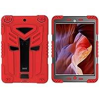 Custodia per iPad Mini 3, meaci (TM) Apple iPad Mini 3Cuscinetto in silicone e plastica Combo con supporto Dual Layer antiurto bambini Proof Custodia protettiva e rosso
