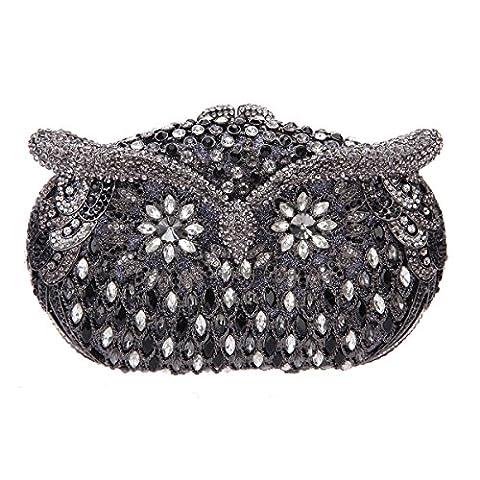 Bonjanvye Studded Rhinestone Owl Shape Evening Clutch Bag for Girls Party Bag Black